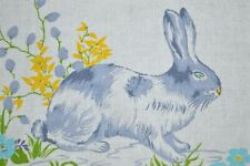 WHIMSY OF EASTER BUNNY & BABY DUCKLINGS! VINTAGE GERMAN RETRO PRINT TABLECLOTH
