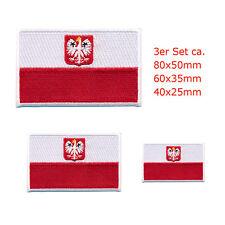 3 Republik Polen Flaggen Warschau Polska Flags Patch Aufnäher Aufbügler 0661