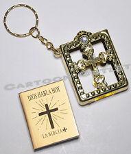 12 BAUTIZO COMUNION KEY CHAINS MINI BIBLES ORO SPANISH BAPTISM COMMUNION LLAVER