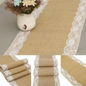 Rustic Burlap Hessian Table Runner Jute Lace Wedding Banquet Party Table Decor
