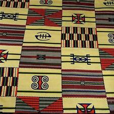 "African Kente Print, Cotton Fabric Wax Dyed Cream Blue Green Orange, 31"" by 44"""