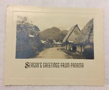 Vintage Panama Post Card 1930s/1940s B&W Photograph Central American Huts