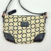 Tommy Hilfiger Black Tan Crossbody Bag Handbag Purse Clutch with Strap Zip Close
