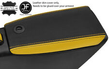 BLACK & YELLOW GENUINE REAL LEATHER ARMREST LID COVER FITS FIAT BARCHETTA 95-05