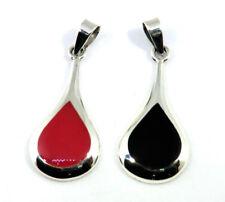 Tropfen Anhänger Achat Rot oder Onyx Schwarz 925 Sterling Silber Neu