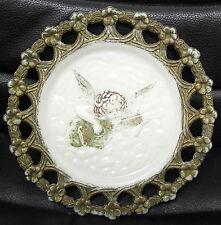 Milk Glass Cherub Angel Plate, Antique, Nice