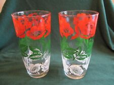 HTF Pr of Vintage Ice Tea/Water 16 oz Glasses, w/Red/White Poppy Flowers, Leaves
