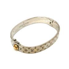 100% Authentic Louis Vuitton Cuff Nanogram Silver Tone Bangle Bracelet /o733