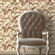 MURIVA GATHERED SILK EFFECT WALLPAPER GOLD F72907 F729-07 COFFEE CREAM BEIGE NEW