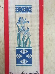 Needlepoint Canvas Blue & White Floral Bookmark Hand Painted by Mindy