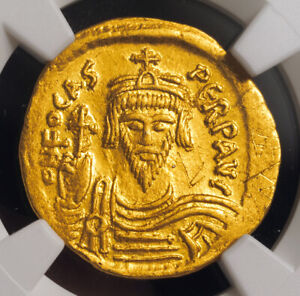 602, Byzantine Empire, Flavius Phokas. Gold Solidus Coin. (4.46gm) NGC Choice XF