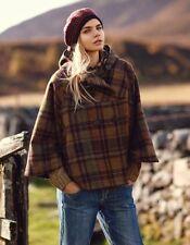 Barbour Women's Bathans Cape 12 Jacket Coat Tartan Olive Tweed New RRP £285