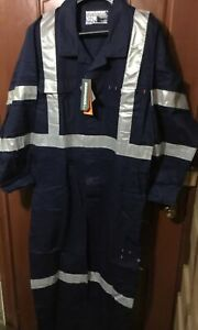 8 x Workhorse Work Overall Coverall Hi-vis Cotton Drill Navy Size 102R RRP$75