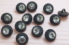 15 Sparkling 10mm Crystal Rhinestone Antique Metal Sewing Buttons A161