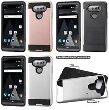 For LG V20 - BRUSHED METAL HYBRID HIGH IMPACT ARMOR HARD TPU PHONE CASE COVER