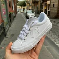 Scarpe bimbo-bimba Converse All Star Star Player bianco per Cerimonie in pelle
