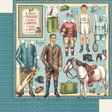 Graphic45 FATHERS & SONS 12x12 Dbl-Sided Scrapbooking (2pc) Paper PAPER DOLLS
