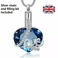 Diamante Love Heart Cremation Urn Pendant Ashes Silver Necklace Funeral Memorial