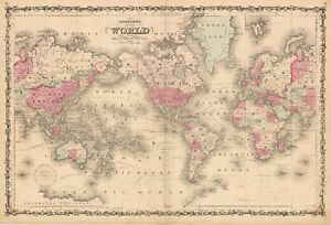 Johnson's Map of the World on Mercator's Projection, 1863