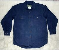 Field & Stream Blue Cotton Flannel Shirt Mens Long Sleeve Heavy Size L Large