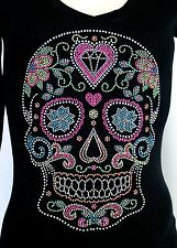 SUGAR SKULL DAY OF THE DEAD Rhinestone / Studs Iron on Transfer Hot Fix