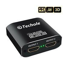 HDMI Splitter 1 in 2 Out - Techole 4K Aluminum Ver1.4 HDCP, Powered HDMI Spli...