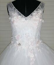 Robe de mariée Pronuptia T42 ivoire fleurs rose volume lacet dos style princesse