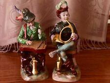 TWO VINTAGE GERMAN CARL THIEME POTSCHAPPEL PORCELAIN MUSICIAN FIGURINES