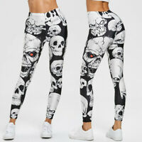 Women Skull Print Leggings Yoga Running Gym Sports Casual Pants Stretch Trousers