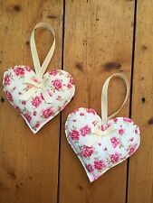 HANDMADE FABRIC HANGING HEARTS - SET OF TWO - FLORAL - SHABBY CHIC - VINTAGE