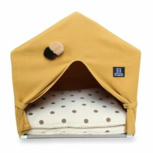Pet Dog Cat Bed House Sofa Tent Frame Bed Indoor House 2 Mat Coushions Yellow M