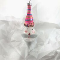 Santa Face Glass Christmas Ornament by Robert Stanley Merry and Bright 2x7