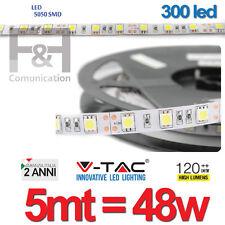 STRISCIA A LUCE LED BIANCA FREDDA SMD 5050 STRIP 5 METRI 300 LED V-TAC 6000K