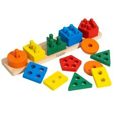 Wooden Montessori Educational Sorting and Stacking Toy - Learn Color and Shape R