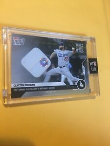 2020 World Series Game Used Base Relic # 64/99 Clayton Kershaw Card 472A Dodgers