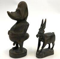 Vintage Tanzania Makonde Duckbill Fertility Goddess & Goat Native Wood Carvings