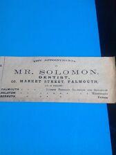L3-2 Ephemera 1903 Advert Mr Solomon Dentist Falmouth
