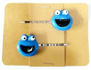 COOKIE MONSTER Bobby PIn Hair Clip Accessory - Set of 2 Handmade
