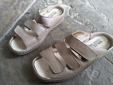 Waldlaufer Comfort leather flat shoe slip on sandal beige brown UK 4 EUR 37 G