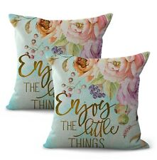 US SELLER-set of 2 enjoy the little things flower cushion cover throw pillows