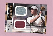 2003 sp game used TIGER WOODS dual shirt sp/100 golf RARE fabric upper deck 1