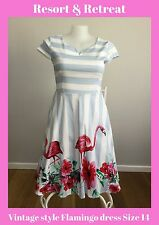 Vintage Style Flamingo Dress 14, Summer Dress, Tea Dress, Race Day, Rockabilly
