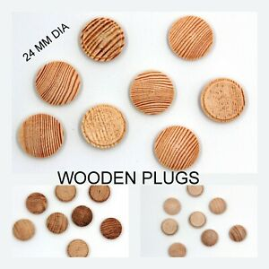 24 mm MUSHROOM Plugs  Wooden Solid Covering Screw Heads FREE PP Button Token DIY