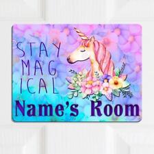 UNICORN Personalised Door Name Plaque Girl Pretty Kids Bedroom Room Sign KD79