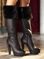 BOOTS STIEFEL STIVALI ITALY PLATFORM NEW REAL LEATHER FUR MINK MARRONE BROWN 37