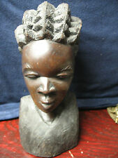 IRONWOOD  CARVING   BUST  OF   AFRICAN  WOMAN  11''  TALL