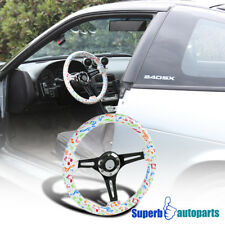 "2"" Deep Dish 350mm 3-Spoke Sport Racing Wooden Steering Wheel Musical Notes"
