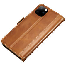 Luxury PU Leather Magnetic Flip Case Card Holder For iPhone 11 - Tan