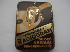 "C1930S VINTAGE ""EMBASSY"" RADIOGRAM GILDED NEEDLES SEMI PERMANENT NEEDLES TIN"