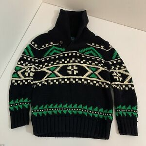 Children's Polo Ralph Lauren Black and Green Sweater Size 5